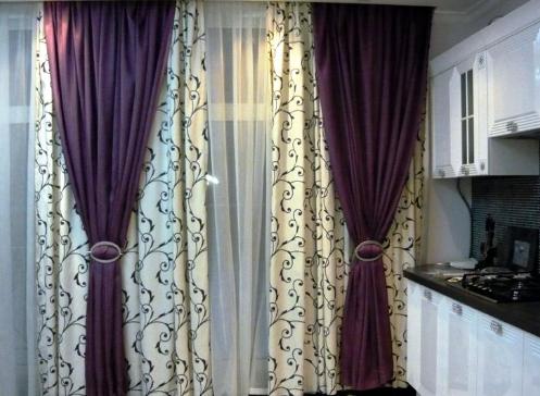 Дизайн гардин и штор кухни